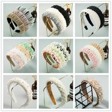 Barroco do vintage completa imitação de pérola bandana para a mulher cor de luxo cristal frisado princesa hairband meninas casamento headwear