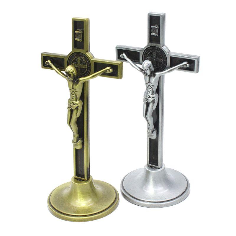 Крест, Распятие Иисуса Христа католический еврейский религиозный Церковь украшения настольная подставка под старину домашний часовни Нас...