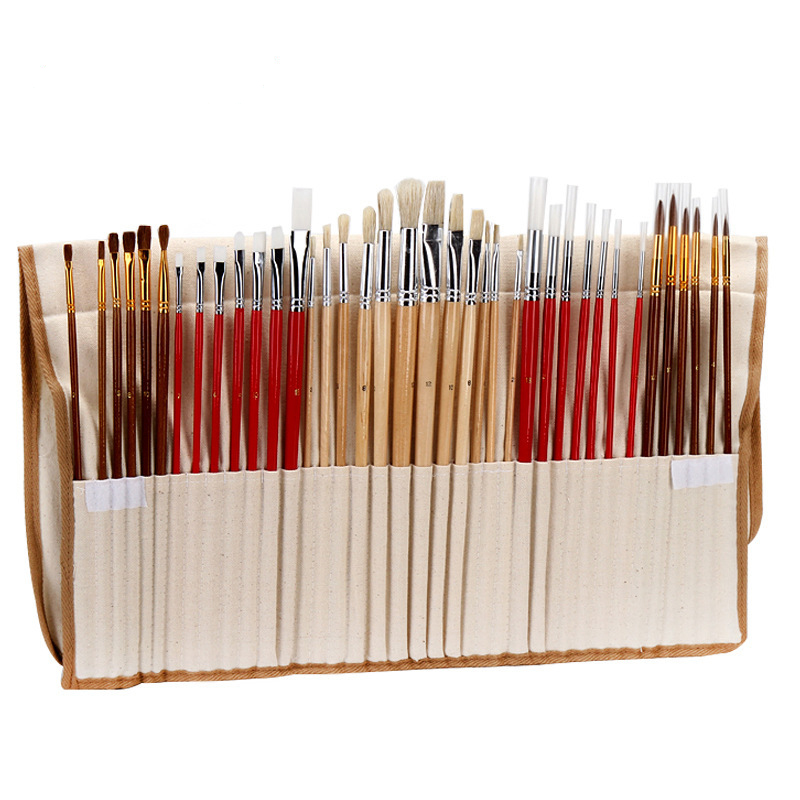 38 Pcs Paint Brushes Set With Canvas Bag For Oil Acrylic Watercolor Painting Long Wooden Handle Multifunction Brush Art Supplies