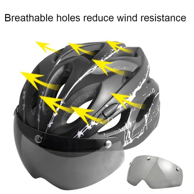 Ciclismo capacete com óculos de proteção ultraleve mtb capacete da bicicleta das mulheres dos homens ciclismo segurança esportes ao ar livre capacete de corrida 3