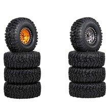 4 pçs metal 2.2 beadlock roda aro pneus conjunto para 1/10 rc carro rastreador traxxas trx4 trx6 axial scx10 rr10 peças