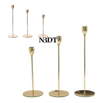 3Pcs/Lot European Stick Candle Single Head Stand Holder Wedding Dinning Table Candlestick Shiny Gold Rose Gold