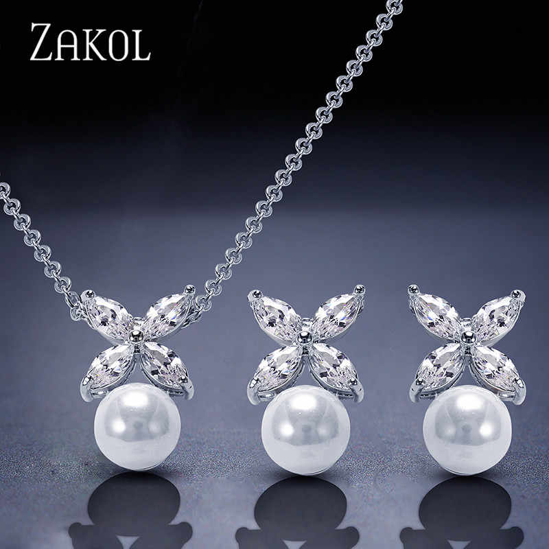 ZAKOL Simulated Pearl Jewelry Set Trendy Cubic Zircon Pendant Necklace Earrings Set Leaf Crystal Jewelry For Women FSSP293
