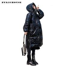 ZURICHOUSE 2020 Women Duck Down Jacket Winter Long Fashion Shiny Black