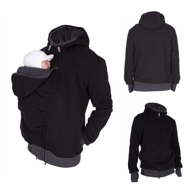 2 In 1 Multi-Function Kangaroo Hooded Dad Men's Sweater Autumn And Winter Dressing Pouch Keep Warm Hoodie Baby Carrier Coat