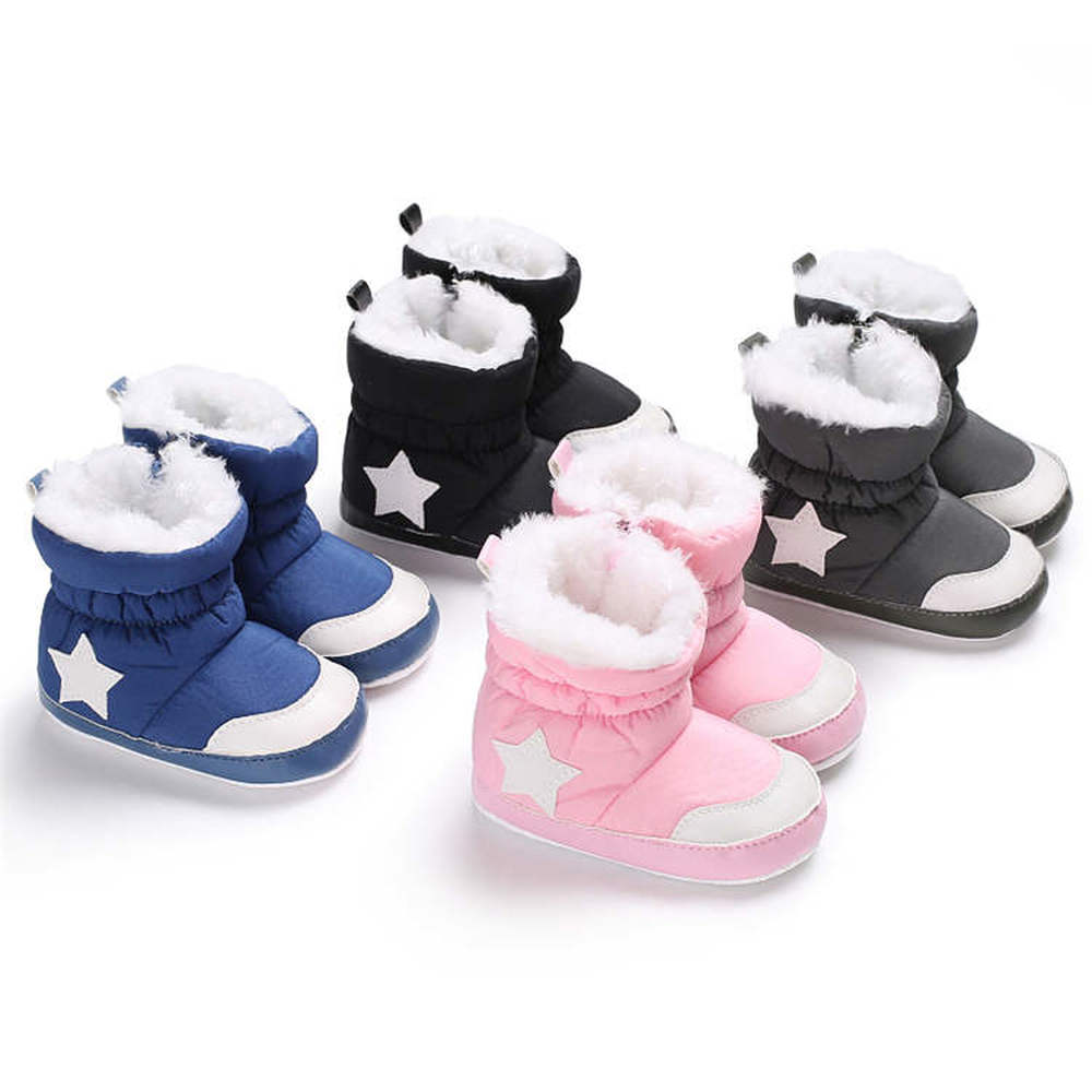 2019 Newborn Infant Shoes Booties White Star Snow Warm Fluff Soft Cotton Sole Non-slip Toddler Baby Shoes First Walkers Shoes