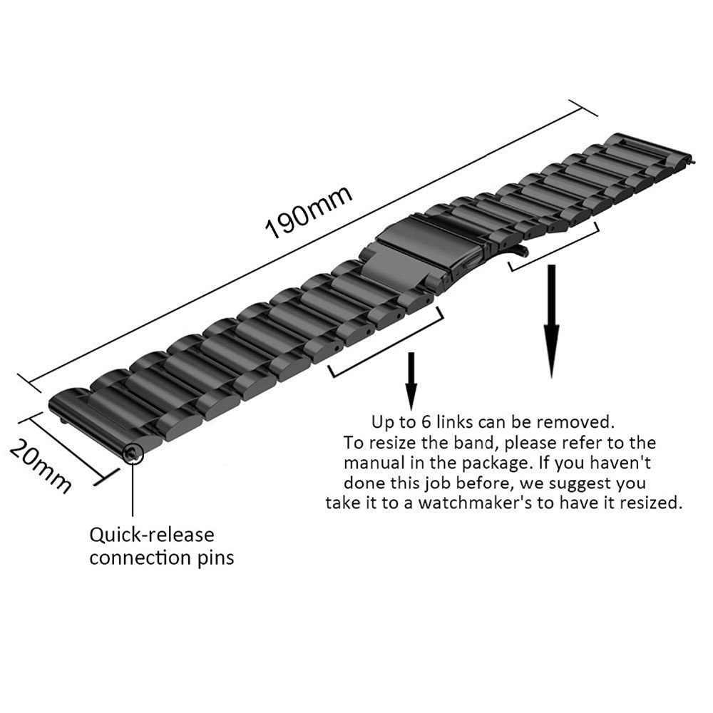עבור סמסונג גלקסי Active2 40mm 44mm 18mm 22mm 20mm 24mm צפו בנד רצועות Amazfit GTS GTR נירוסטה רצועת השעון