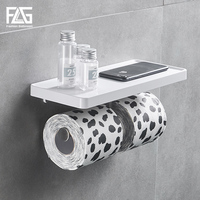 FLG Wall Mounted Toilet Paper Holder Stainless Steel Double Hooks Single Hook Rolls Stand Wall Holder Bathroom White ABS Shelf