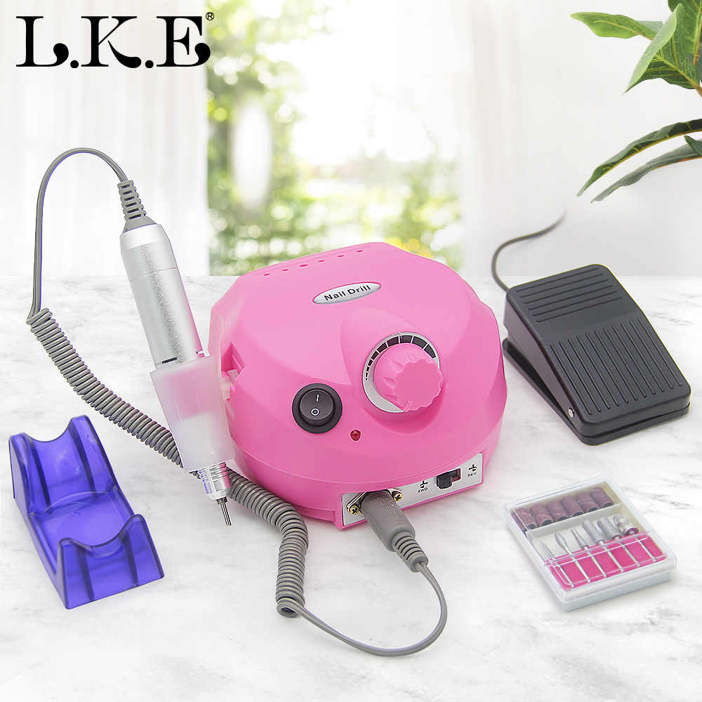 LKE 35000RPM Electric Kuku Bor Manikur Mesin Pemotong Set untuk Salon Kuku Tips Kuku Bor Seni Electric Pedicure file