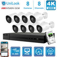 Hikvision OEM 8CH 4K NVR 8MP Bullet POE IP Camera 4/6/8PCS Outdoor Security systems ONVIF H.265 CCTV NVR Kits With 1/2/4TB HDD