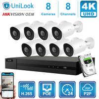 Hikvision OEM 8CH 4K NVR 8MP Kugel POE IP Kamera 4/6/8PCS Outdoor Sicherheit systeme ONVIF H.265 CCTV NVR Kits Mit 1/2/4TB HDD