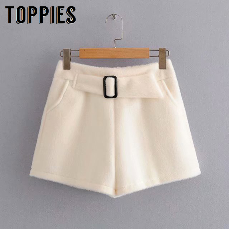 Winter White Black Shorts With Belt High Waist Faux Fur Shorts Korean Slim Short Pants Streetwear