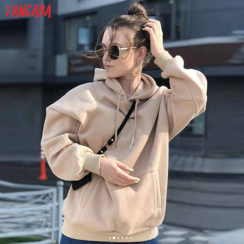 Tangada المرأة كنزة بغطاء رأس من الصوف بلوزات الشتاء اليابانية موضة 2020 المعتاد السيدات البلوفرات الدافئة جيب مقنعين سترة SD60