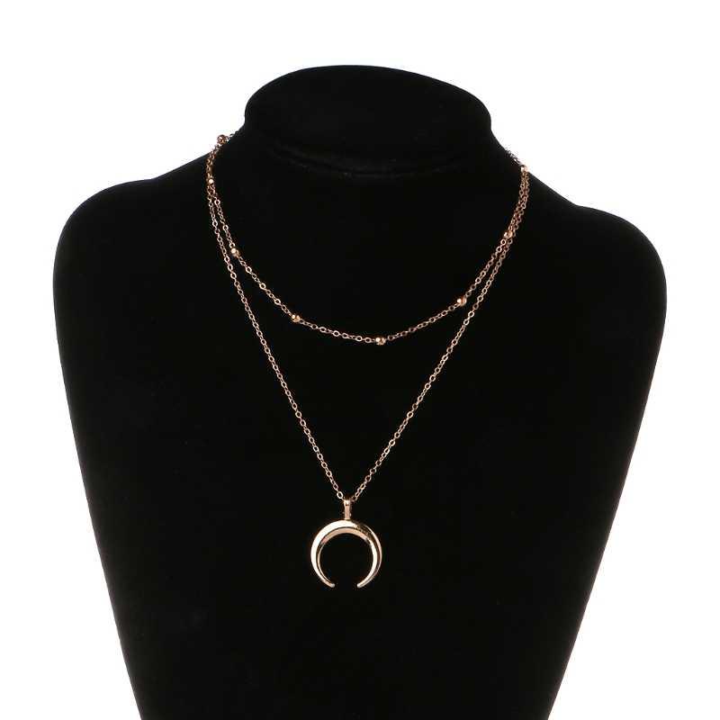 Boho media luna colgante collar doble cuerno joyería mínimo regalo de novia