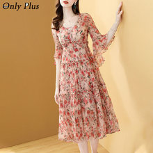 Only Plus Women Chiffon Floral Printed Dress Summer Flare Sleeve High Waist Draped V-Neck A-Line Fairy Print Dresses For Women
