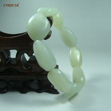 CYNSFJA Real Certified Natural Hetian Jade Nephrite Men's Charm Amulets Jade Bracelets Fine Jewelry High Quality Wonderful Gifts(China)