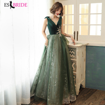 Elegant Evening Dress Green Sparkling A Line Party Gowns Double V Neck Formal Vestido Sleeveless Women Dresses ES3109