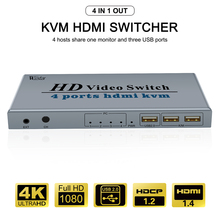 KVM HDMI Switch 4K USB HDMI KVM Switcher 4 in 1 Out with 3 USB Ports out for Mouse Keyboard U disk Printer for Win7/8/10 MAC