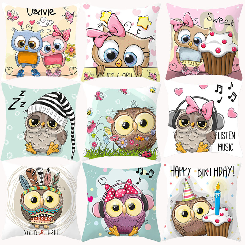 Owl Cushion Covers Cute Funny Cartoon Pink Pillowcase Decorative Cushions For Sofa Polyester Pillowcover Cogines Para Sofa 10038