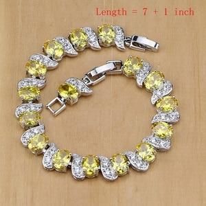 Image 2 - 925 Silver Jewelry Yellow Cubic Zirconia Jewelry Sets for Women Earrings/Pendant/Necklace/Rings/Bracelet