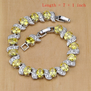 Image 2 - 925 gümüş takı sarı kübik zirkonya takı setleri kadınlar için küpe/kolye/kolye/yüzük/bilezik