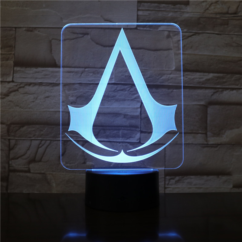 Assassins Creed Game Logo 3d Nightlight Gift For Kids Bedroom Decor Color Changing Study Room Led Night Light Lamp AW-2872