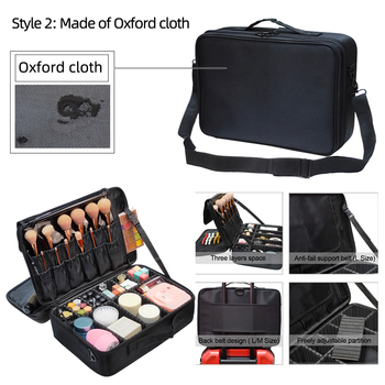 New 2017 High Quality Professional Empty Makeup Organizer Bolso Mujer Cosmetic Case Travel Large Capacity Storage Bag Suitcases 6