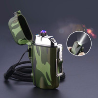 Outdoor Camouflage Waterproof Double Arc Pulse Lighter Electric Plasma Windproof Cigarette Lighter USB Charging Electric Lighter|Cigarette Accessories|Home & Garden -
