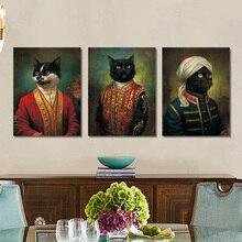 Retrato de dibujos animados Cardinal Cat Vintage lienzo pintura carteles e impresiones arte de pared fotos para la decoración del hogar de la sala de estar