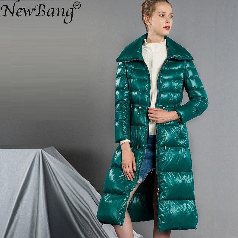 NewBang Brand Long Women's Down Coat Winter Jacket Women Parka With Waist Belt Slim Warm Windbreaker Hooded Coats