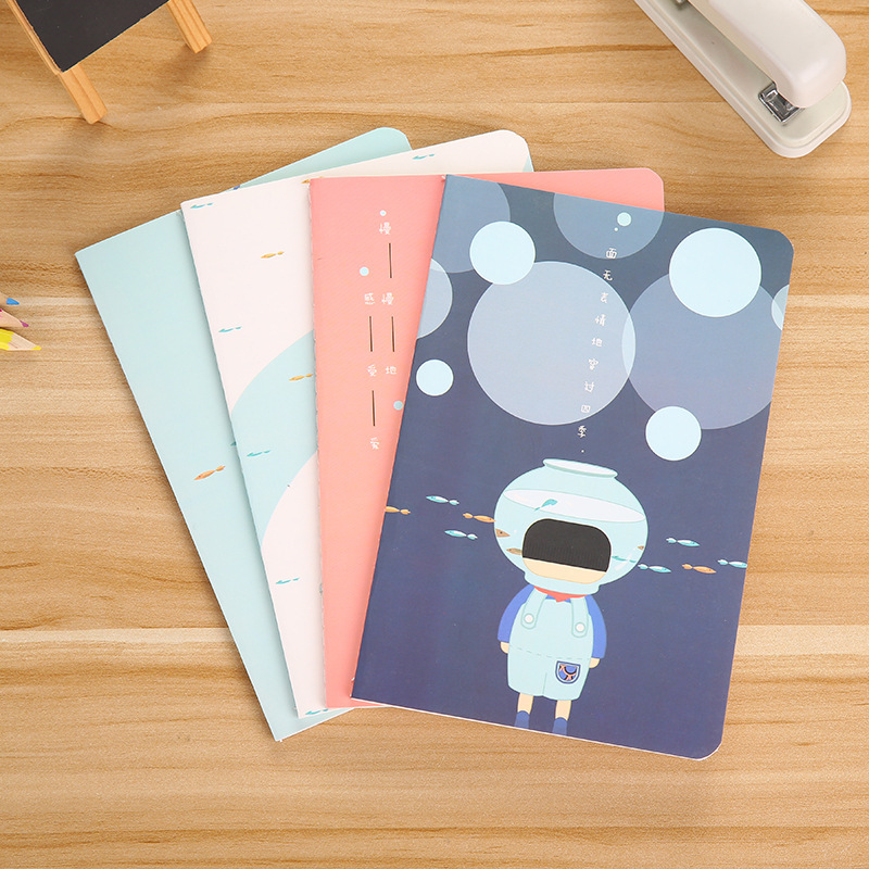 1 Piece Cartoon Notebook A5-60 Pages Lined School Notebook Kawaii Journal 9 Styles Available Students Homework Diary Gifts