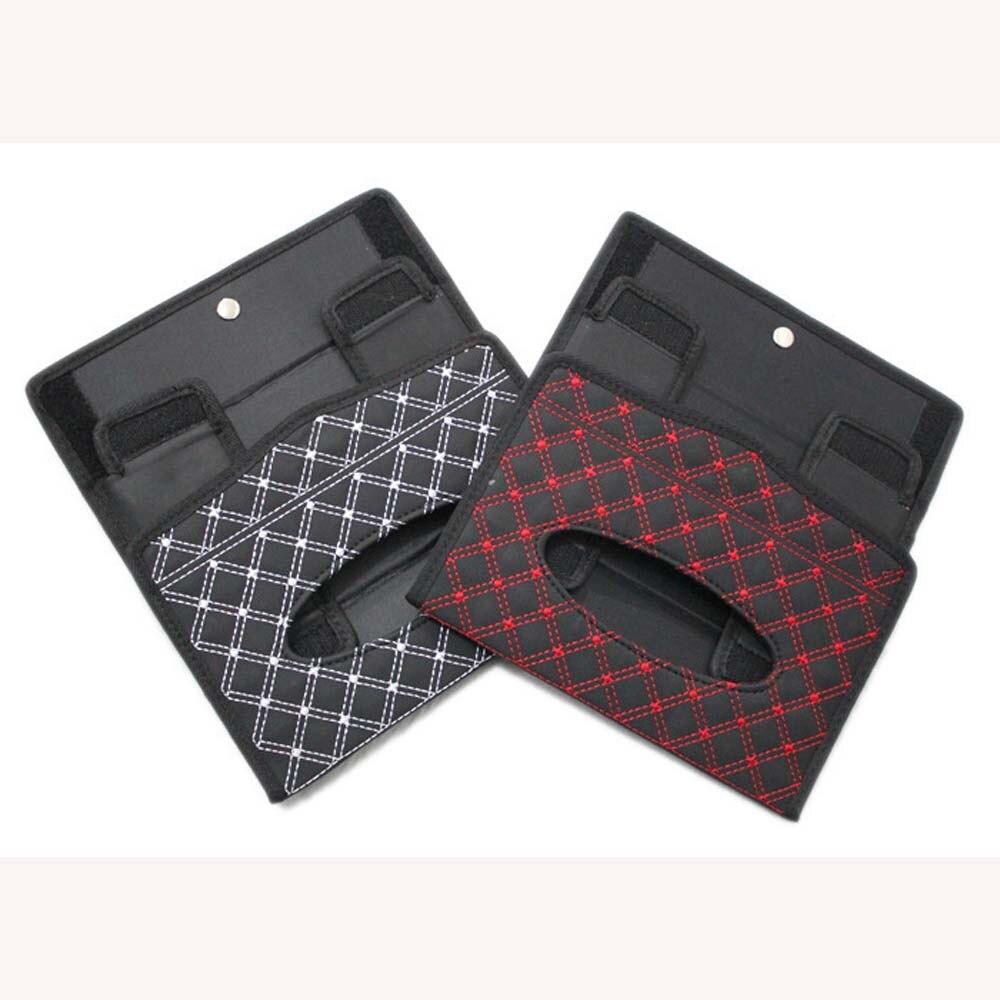South Korea Wine Fabric Series Folding Tissue Bag Tissue Box For Car Interior Trim Supplies Red String White Line Car Sticker