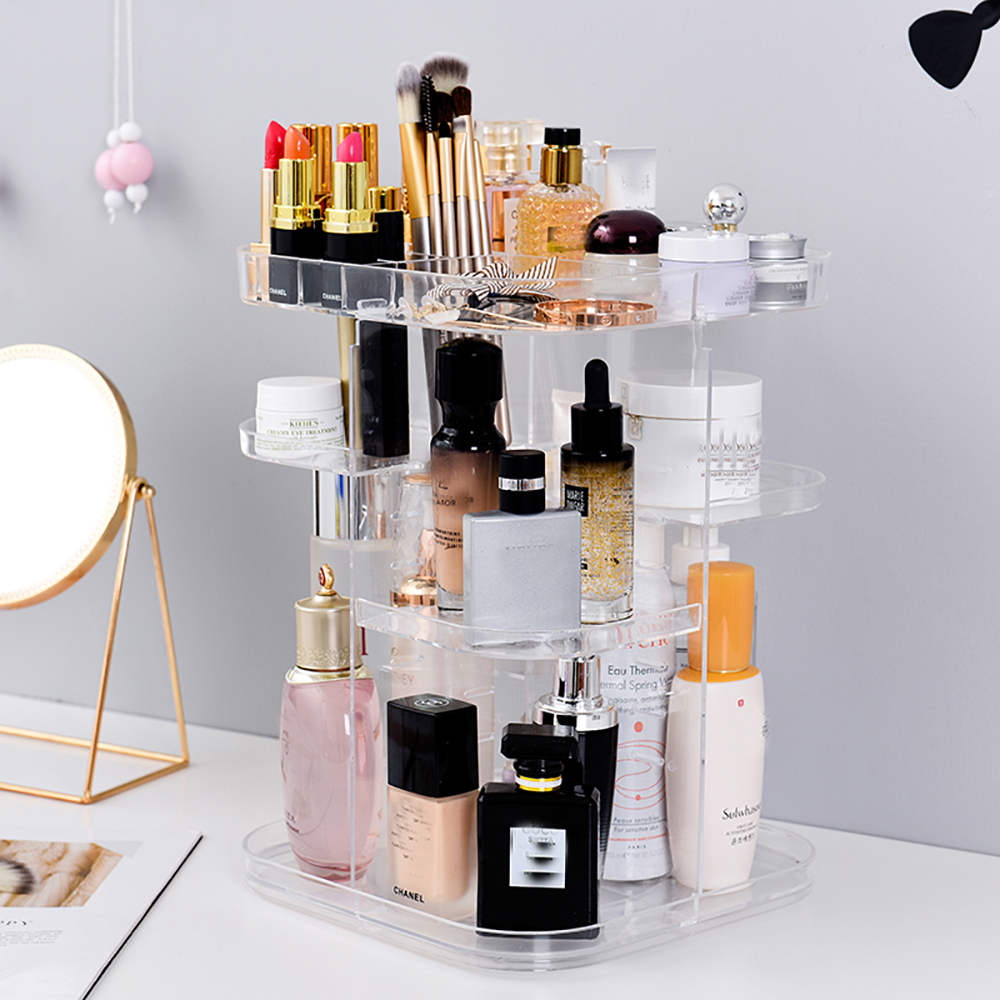 360 Degree Rotating  Makeup Organizer Box Brush Holder Jewelry Transparent Acrylic Makeup Organizer Cosmetic Storage Box