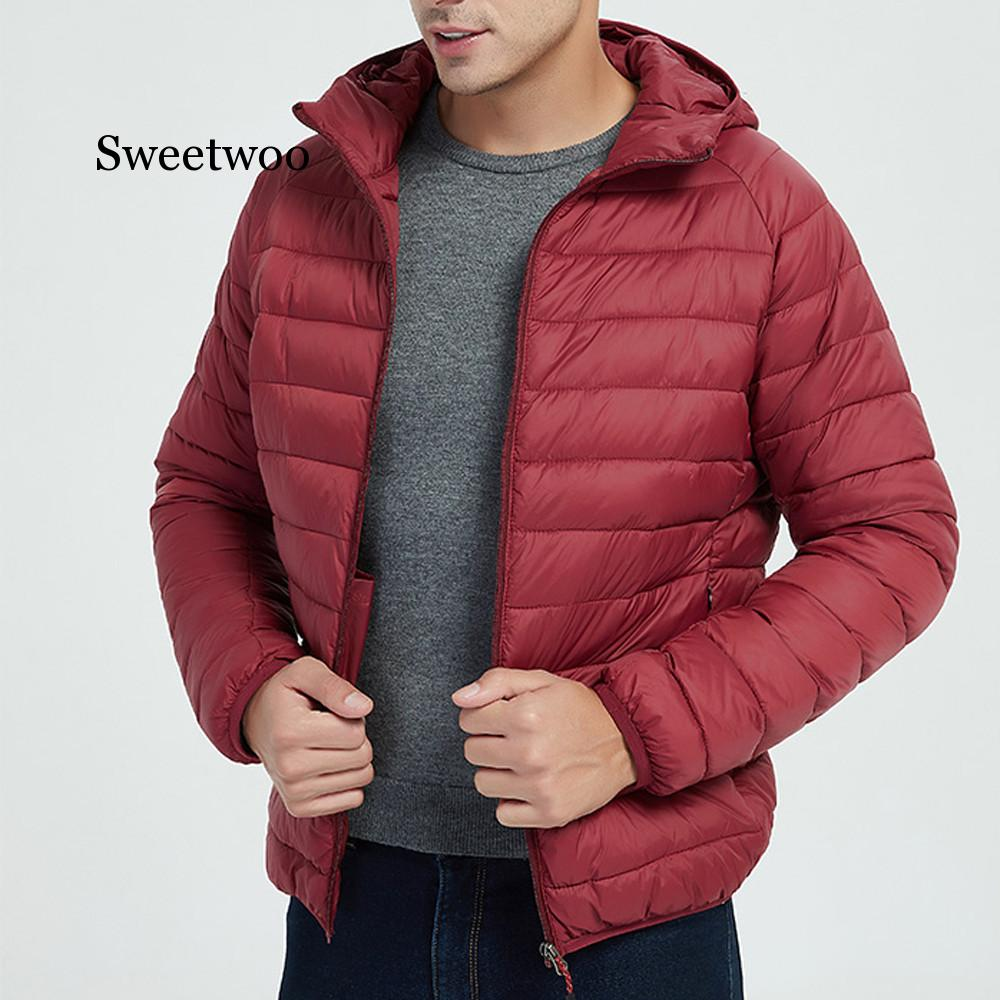 Men Autumn Winter Style Light Weight Overcoat Outerwear Coats Cotton Warm  Hooded Men's Jacket Coat