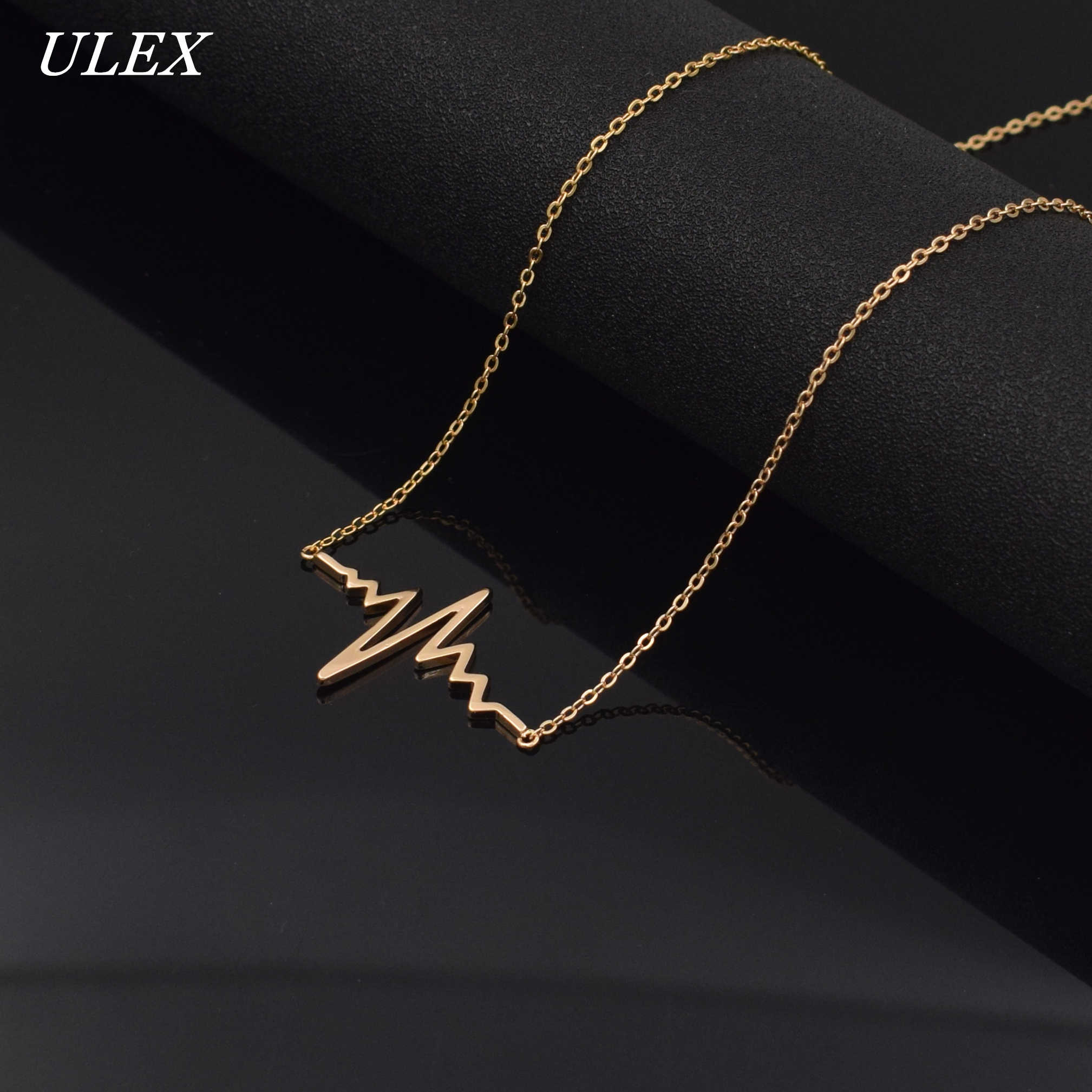2019 trendy long Necklaces for women Stainless Steel Pendants Heartbeat Necklace for Women Bohemian Jewelry  fashion Statement