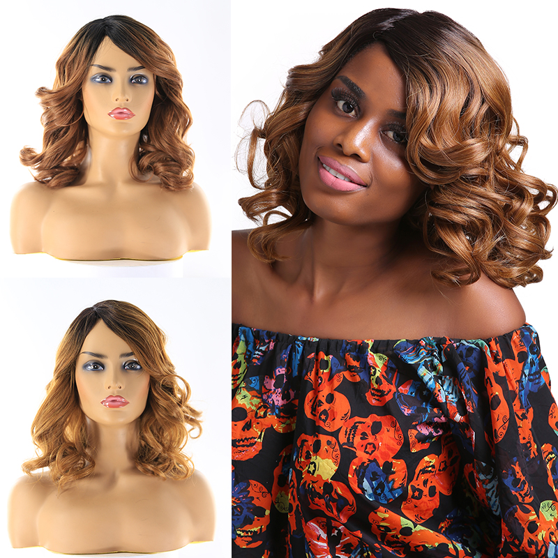 SOKU Synthetic Hair Wigs For Black Women 14Inch Short Wavy Wigs With Bang Ombre Brown Side Part Heat Resistant Wig Free Shipping