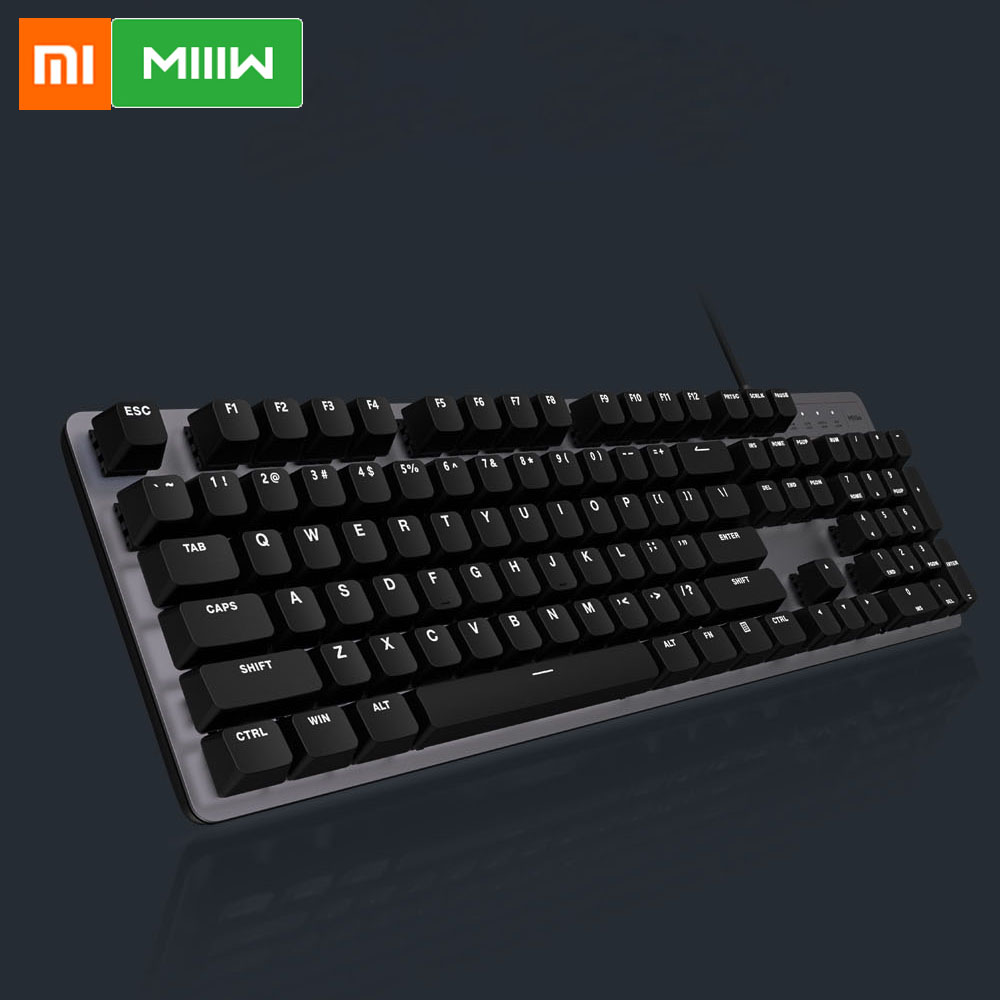 Xiaomi MIIIW Gaming Mechanical Keyboard 600K 104 Keys Red Switch USB Wired 6 Mode White LED Backlights Keyboard  For Office Use