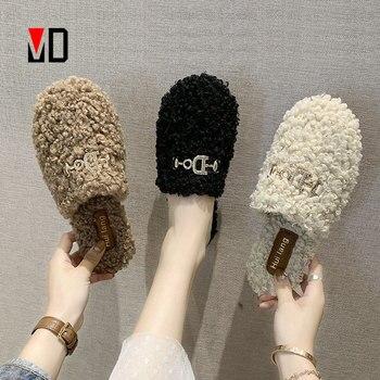 Zapatillas de piel para mujer, zapatos planos cálidos y esponjosos, informales, mocasín a la moda, para invierno y otoño, Diseño de Metal