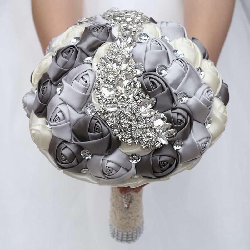 DiscountîBridal Bouquet Flowers Rose Diamonds Wedding-Romantic Handmade Silver Mix Party-W445d