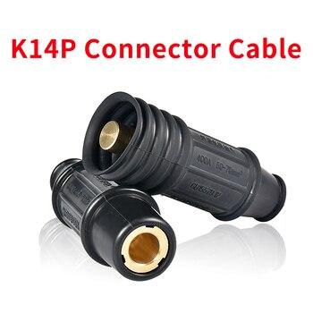 Cable de manillar de soldadura K14p, conector rápido macho y hembra, 70 cables cuadrados de cobre, cable secundario, junta a tope, material de latón