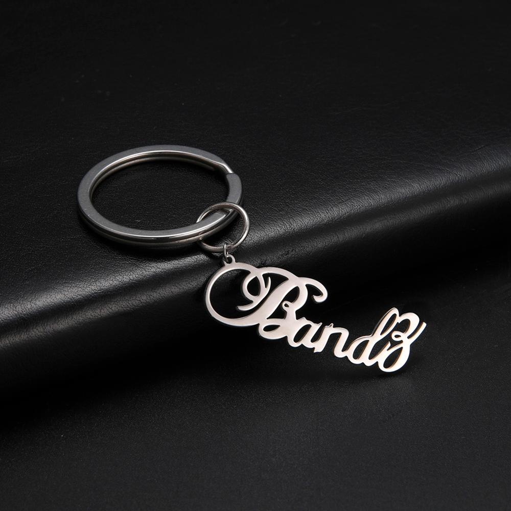 Skyrim Custom Keychain Stainless Steel Customized Personalized Name Nameplate Letter Keyring Key Chains Gift for Women and Men