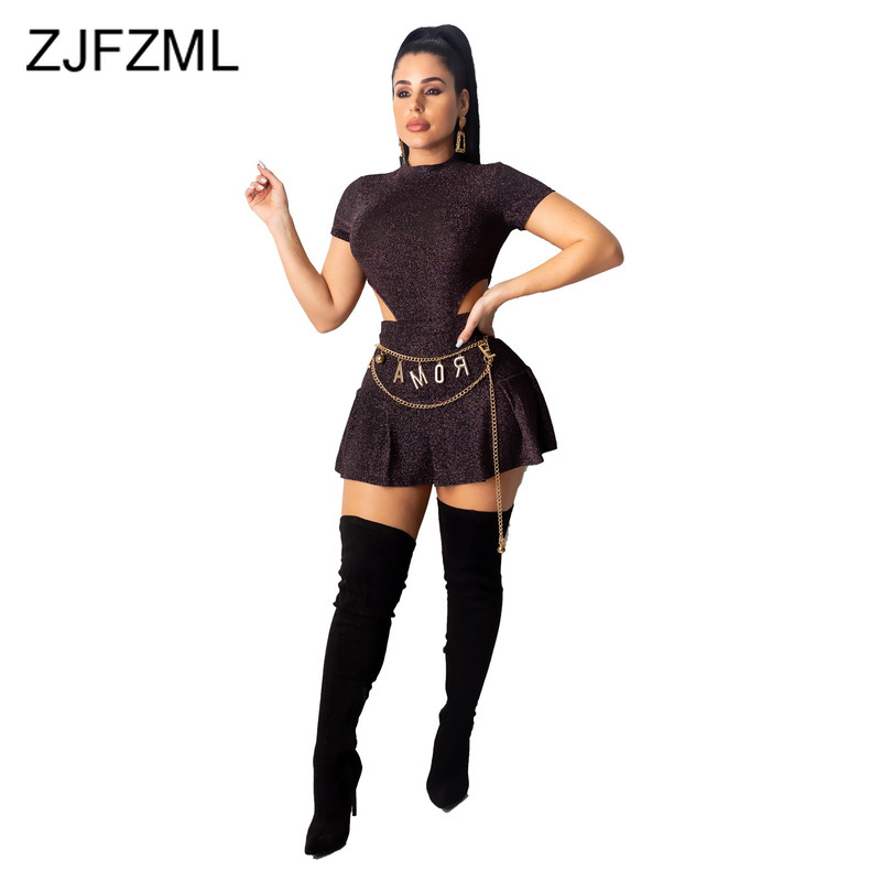 Lurex Sexy Two Piece Skirt Set Women Stand Collars Short Sleeve High-Cut One Piece Bodysuit And Mini Pleated Skirts Club Outfits