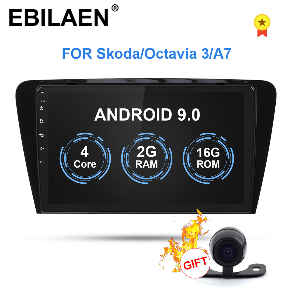 Lecteur multimédia DVD voiture EBILAEN pour Skoda Octavia A7 III 3 2014-2018 2din Android 9.0 Radio Auto Navigation GPS caméra arrière