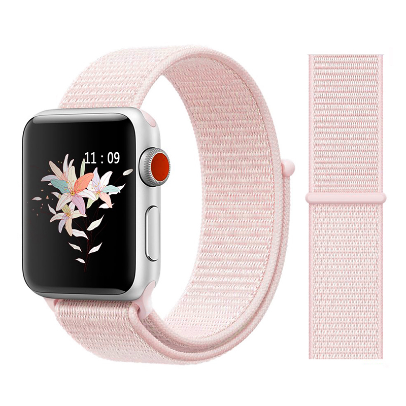 Для наручных часов Apple Watch, версии 3/2/1 38 мм 42 мм нейлон мягкий дышащий нейлон для наручных часов iWatch, сменный ремешок спортивный бесшовный series4/5 40 мм 44 мм - Цвет ремешка: Color18 pearl Pink