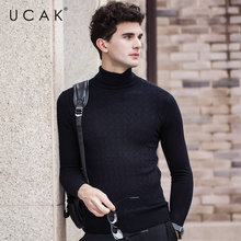 UCAK Brand 100% Merino Wool Sweater Men 2019 Autumn Winter New Arrival Fashion Turtleneck Cashmere Pull Homme Pullover U3058