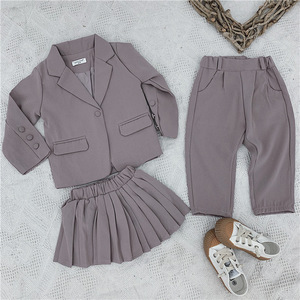 Image 4 - Baby Girl Casual Blazer Jackets Sets 2019 Autumn New Toddler Outfits Kids Girls Long Sleeve Blazer Coat+skirt/pants Suits 2 7Y