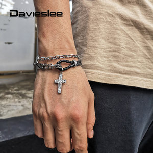 Bracelet for Men Double Layered Stainless Steel Cable Chain Black Punk Man-made Leather Cross Charm Mens Bracelet LDLB195