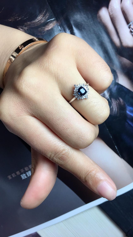 820 Fijne Sieraden Pure 18K White Gold Natuurlijke Blauw Spinel Edelstenen 0.98ct Diamonds Classic Ontwerp Vrouw Ringen voor presenteert - 5