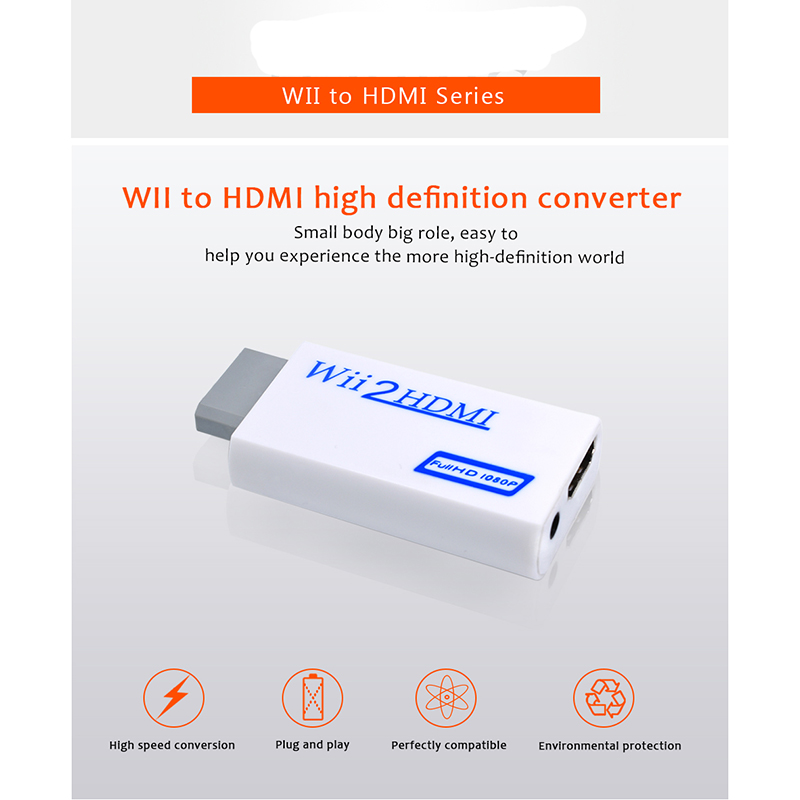 White Plastic Wii to HDMI 1080P Upscaling Converter Adapter with 3.5mm Audio Output