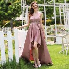 スパークルサテンイブニングドレスこれまでにかわいいEP00877スパンコール非対称ダブルvネックのセクシーなフォーマルガウンabendkleider